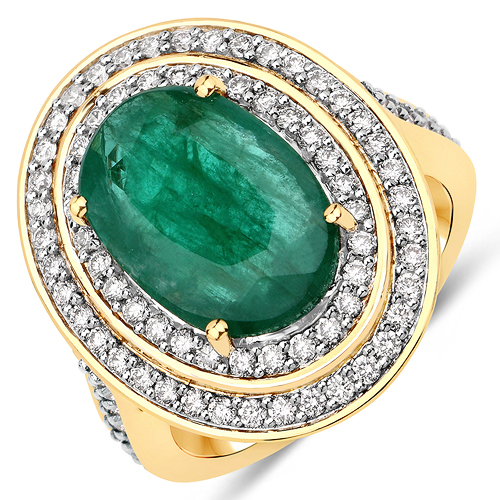 Emerald-5.16 Carat Genuine Brazilian Emerald and White Diamond 18K Yellow Gold Ring