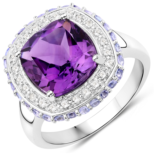 Amethyst-3.78 Carat Genuine Amethyst, Tanzanite and White Topaz .925 Sterling Silver Ring