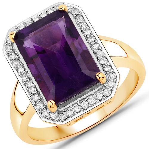 Amethyst-3.42 Carat Genuine Amethyst and White Diamond 14K Yellow Gold Ring