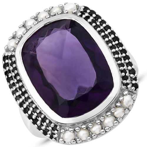 Amethyst-9.59 Carat Genuine Amethyst, Pearl and Black Spinel .925 Sterling Silver Ring