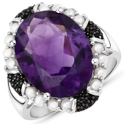Amethyst-8.56 Carat Genuine Amethyst, Pearl and Black Spinel .925 Sterling Silver Ring