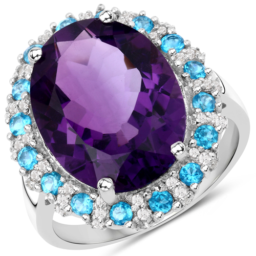 Amethyst-8.18 Carat Genuine Amethyst, Apatite and White Topaz .925 Sterling Silver Ring