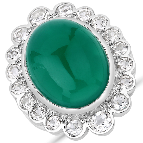 Rings-18.90 Carat Genuine Green Onyx and White Topaz .925 Sterling Silver Ring