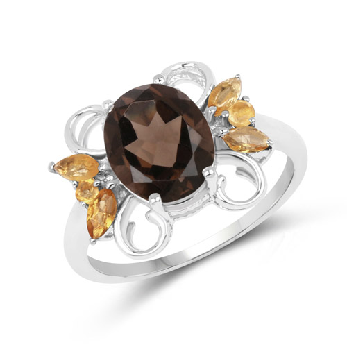 Rings-2.80 Carat Genuine Smoky Quartz and Citrine .925 Sterling Silver Ring