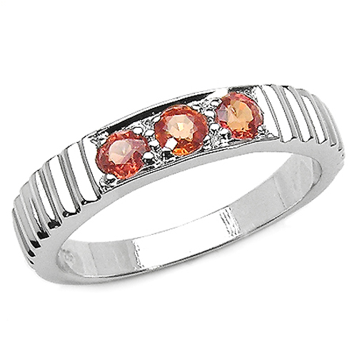 Sapphire-0.42 Carat Genuine Orange Sapphire .925 Sterling Silver Ring