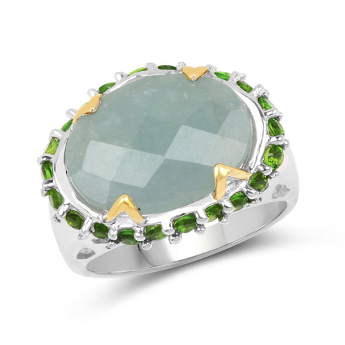 Rings-Two Tone Plated 9.12 Carat Genuine Milky Aquamarine and Chrome Diopside .925 Sterling Silver Ring