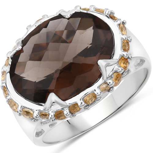 Rings-Two Tone Plated 9.58 Carat Genuine Smoky Quartz & Citrine .925 Sterling Silver Ring