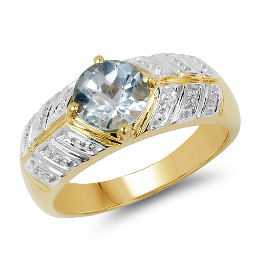Rings-14K Yellow Gold Plated 1.70 Carat Genuine Blue Topaz .925 Sterling Silver Ring