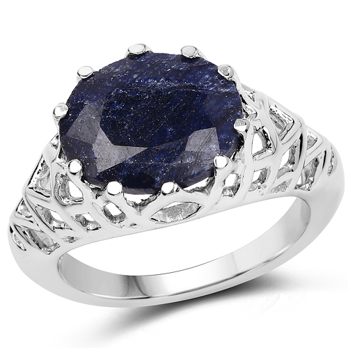 Sapphire-5.94 Carat Dyed Sapphire .925 Sterling Silver Ring