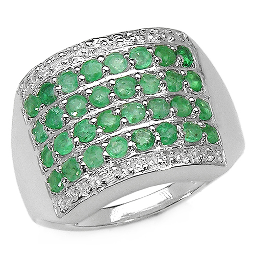 Emerald-0.96 Carat Genuine Emerald .925 Sterling Silver Ring