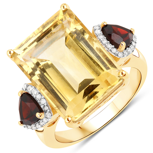 Citrine-12.54 Carat Genuine Citrine, Garnet and White Diamond 14K Yellow Gold Ring