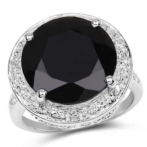 Rings-8.48 Carat Genuine Black Onyx and White Topaz .925 Sterling Silver Ring