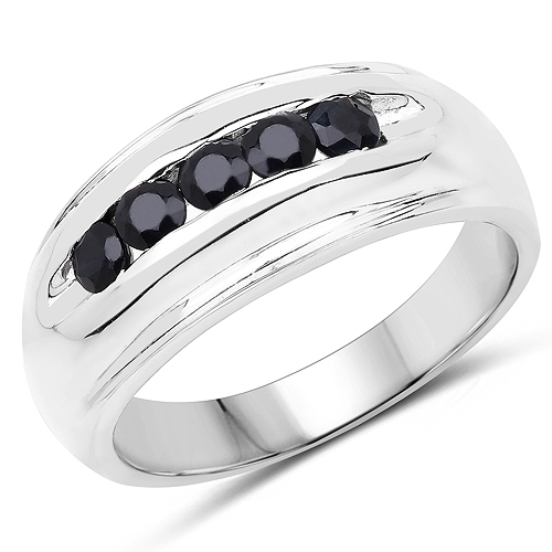Sapphire-0.50 Carat Genuine Black Sapphire .925 Sterling Silver Ring