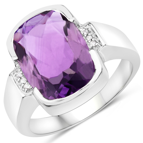 Amethyst-6.53 Carat Genuine Amethyst and White Diamond .925 Sterling Silver Ring