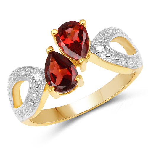 Garnet-14K Yellow Gold Plated 1.73 Carat Genuine Garnet and White Topaz .925 Sterling Silver Ring