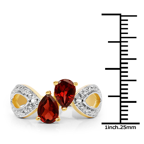 14K Yellow Gold Plated 1.73 Carat Genuine Garnet and White Topaz .925 Sterling Silver Ring
