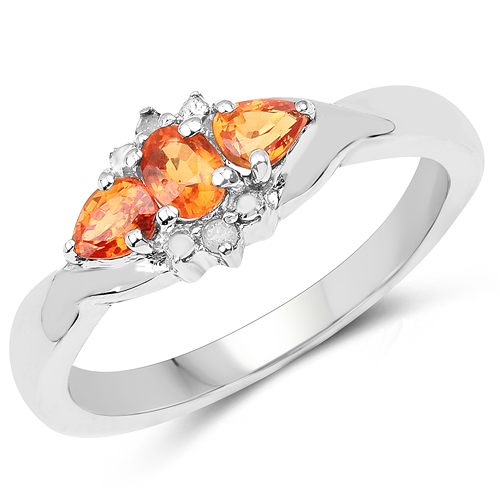 Sapphire-0.53 Carat Genuine Orange Sapphire and White Topaz .925 Sterling Silver Ring