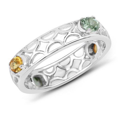 Sapphire-0.88 Carat Genuine Green Sapphire and Orange Sapphire .925 Sterling Silver Ring
