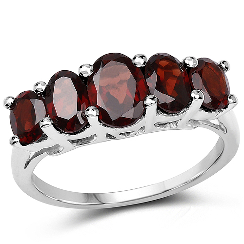 Garnet-2.77 Carat Genuine Garnet .925 Sterling Silver Ring