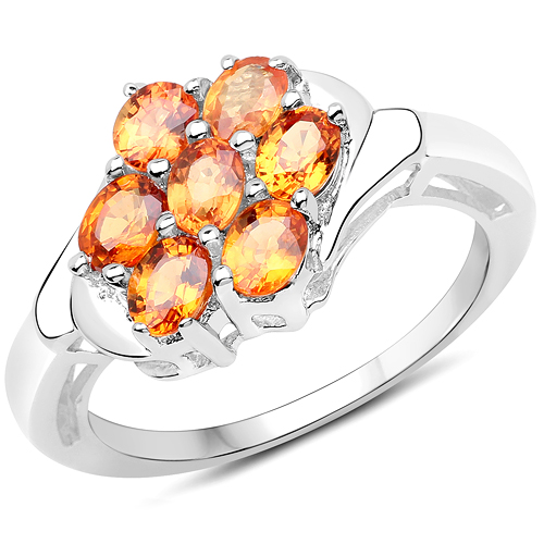 Sapphire-1.40 Carat Genuine Orange Sapphire .925 Sterling Silver Ring