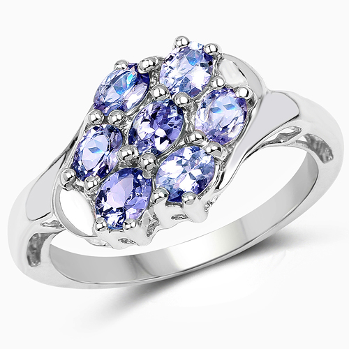 1.19 Carat Genuine Tanzanite .925 Sterling Silver Ring