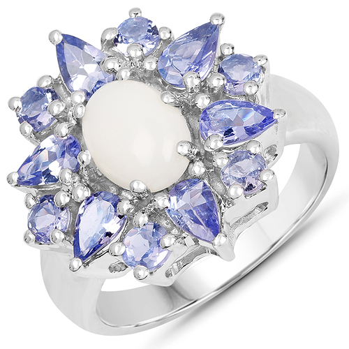 Opal-2.72 Carat Genuine Opal and Tanzanite .925 Sterling Silver Ring