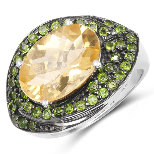 6.11 Carat Genuine Citrine and Chrome Diopside .925 Sterling Silver Ring