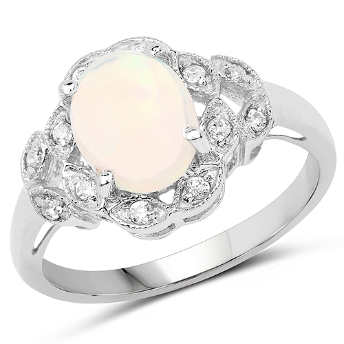 Opal-1.95 Carat Genuine Ethiopian Opal and White Cubic Zirconia .925 Sterling Silver Ring