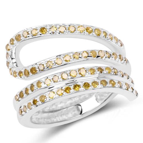 0.83 Carat Genuine Yellow Diamond .925 Sterling Silver Ring