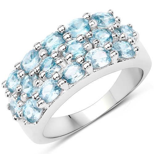 Rings-4.00 Carat Genuine Blue Zircon .925 Sterling Silver Ring