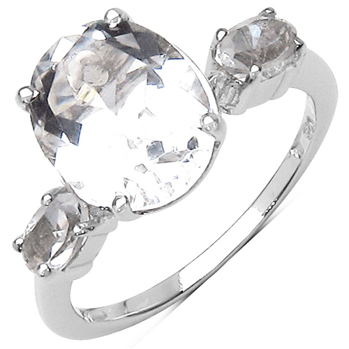 Rings-3.50 Carat Genuine Crystal Quartz Sterling Silver Ring