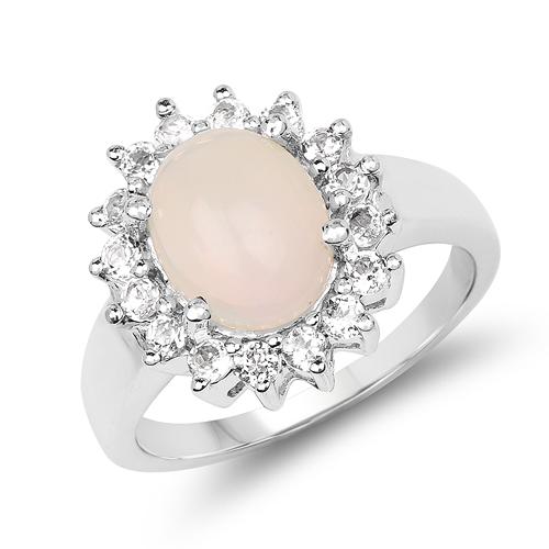 Opal-2.33 Carat Genuine Opal & White Topaz .925 Sterling Silver Ring