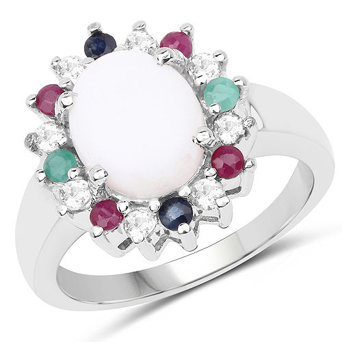 Opal-2.35 Carat Genuine Multi Stone .925 Sterling Silver Ring