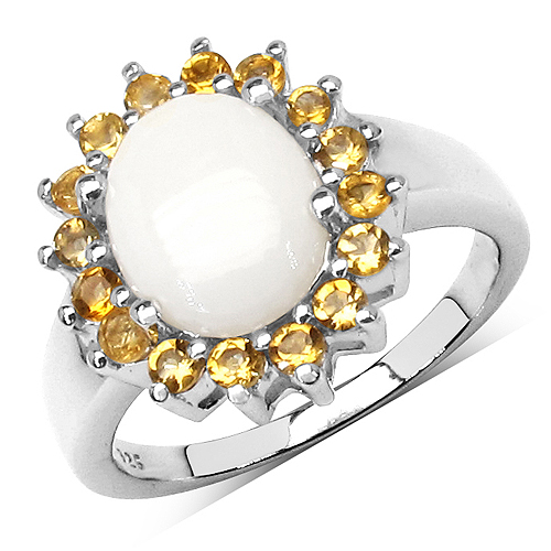 Opal-2.45 Carat Genuine Opal & Citrine .925 Streling Silver Ring