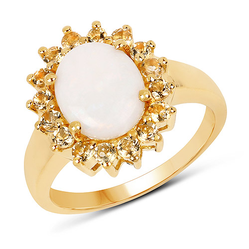 Opal-14K Yellow Gold Plated 2.60 Carat Genuine Opal and Citrine .925 Sterling Silver Ring