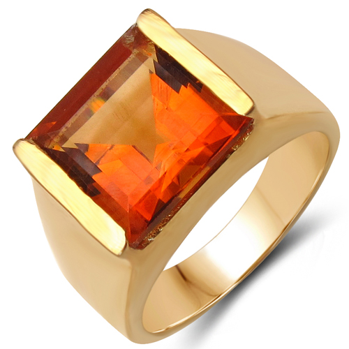 Citrine-14K Yellow Gold Plated 6.00 Carat Genuine Citrine .925 Sterling Silver Ring
