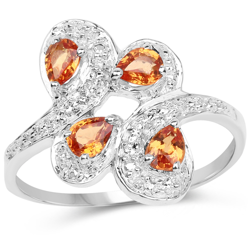 Sapphire-0.80 Carat Genuine Orange Sapphire .925 Sterling Silver Ring