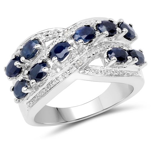 Sapphire-2.21 Carat Genuine Blue Sapphire & White Diamond .925 Sterling Silver Ring