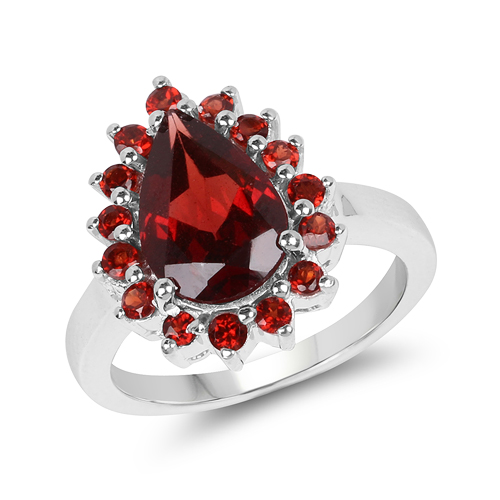 Garnet-4.10 Carat Genuine Garnet .925 Sterling Silver Ring