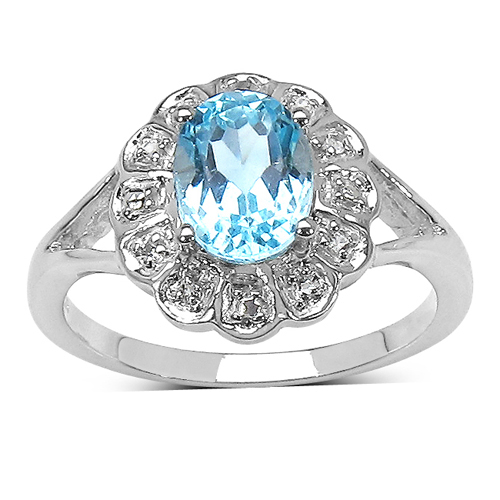 Rings-1.60 ct. t.w. Blue Topaz and White Topaz Ring in Sterling Silver