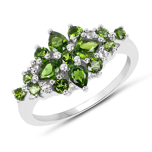 Rings-1.39 Carat Genuine Chrome Diopside & White Topaz .925 Sterling Silver Ring