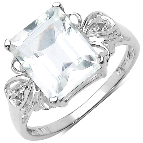 Rings-3.30 ct. t.w. Crystal Quartz and White Topaz Ring in Sterling Silver