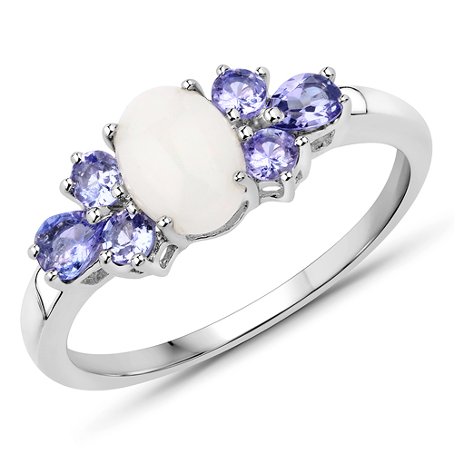 Opal-1.07 Carat Genuine Opal and Tanzanite .925 Sterling Silver Ring
