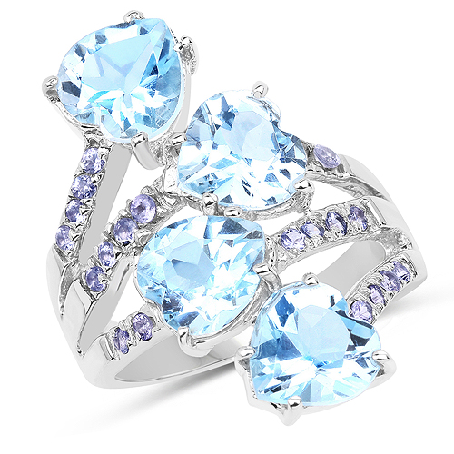 Rings-8.40 Carat Genuine Blue Topaz and Tanzanite .925 Sterling Silver Ring