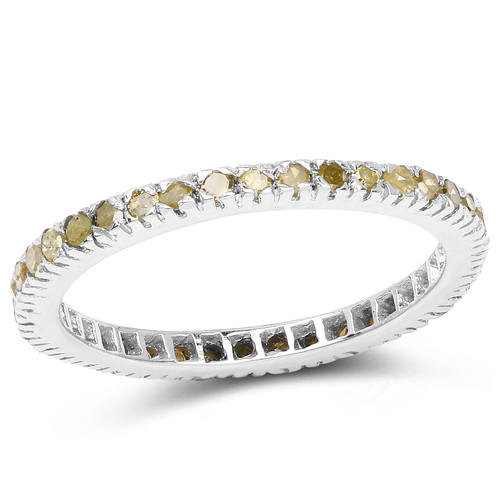 0.57 Carat Genuine Yellow Diamond .925 Sterling Silver Ring