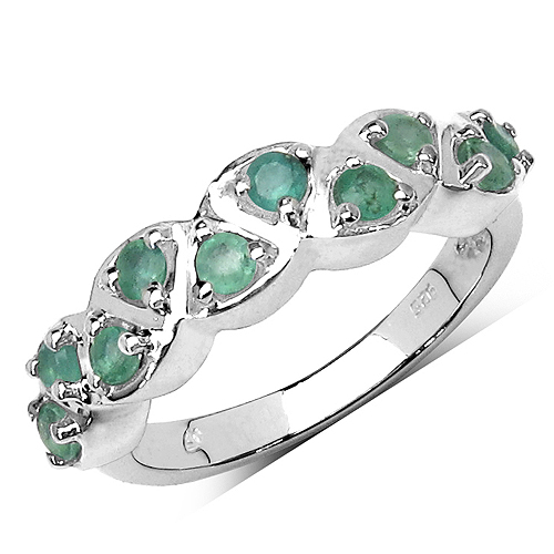 Emerald-0.70 Carat Genuine Emerald .925 Streling Silver Ring