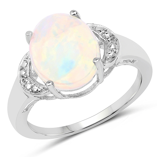Opal-1.86 Carat Genuine Ethiopian Opal and White Topaz .925 Sterling Silver Ring