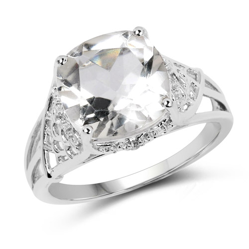 3.39 Carat Genuine Crystal Quartz and White Topaz .925 Sterling Silver Ring