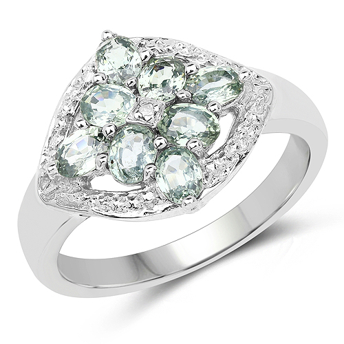 Sapphire-1.60 Carat Genuine Green Sapphire and White Diamond .925 Sterling Silver Ring