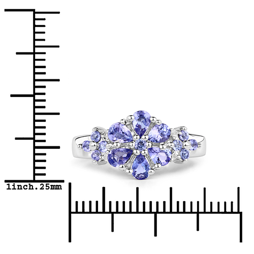1.14 Carat Genuine Tanzanite and White Topaz .925 Sterling Silver Ring